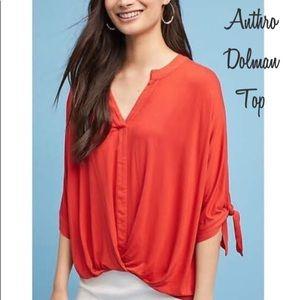🆕 NWOT Anthro Orange Dolman Top - Size XL